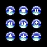 Glanzende webbsite audiopictogrammen Stock Foto's