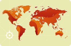 Glanzende wereldkaart Stock Fotografie