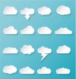 Glanzende Witte Wolkenpictogrammen Royalty-vrije Stock Fotografie