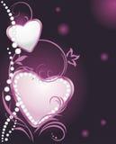 Glanzende zilveren en roze harten met diamanten Royalty-vrije Stock Foto