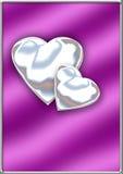 Glanzende zilveren harten Stock Foto's