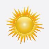 Glanzende zon die op wit wordt geïsoleerdo Royalty-vrije Stock Afbeelding