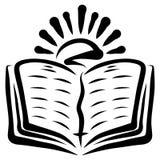 Glanzende zon over een open boek met een referentie en een dwars, zwart patroon stock illustratie