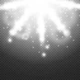 Glanzende zonnestraal van zonnestralen op de abstracte zonneschijnachtergrond en de transparantie Vector illustratie Royalty-vrije Stock Afbeeldingen