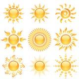 Glanzende zonpictogrammen Royalty-vrije Stock Foto