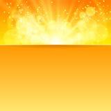 Glanzende zonvector met plaats voor tekst Stock Afbeelding