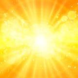 Glanzende zonvector, zonnestralen, zonnestralen Royalty-vrije Stock Fotografie