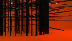 Glanzende zwarte geometrische objecten deeltjestransformatie stock video