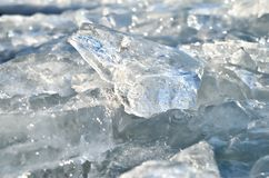 Glare of light reflected in the shards of pure ice.  Royalty Free Stock Image