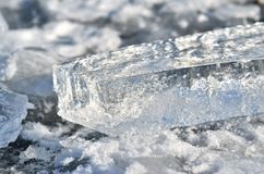 Glare of light reflected in the shards of pure ice.  Royalty Free Stock Photos