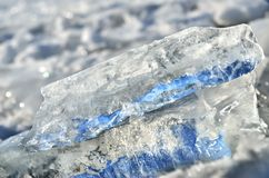 Glare of light reflected in the shards of pure ice.  Royalty Free Stock Photo