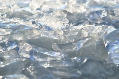 Glare of light reflected in the shards of pure ice.  Stock Image