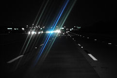 Night Driving. With glare from oncoming traffics headlights Royalty Free Stock Photos
