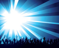 Glaring Background and Crowd. A glaring blue background with a starburst and a crowd or an audience reaching towards the sky Stock Photos