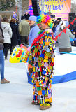 Glaring Carnival clown. Motley clown at Varna Carnival venue held  on March 26th,2016,Bulgaria Stock Images