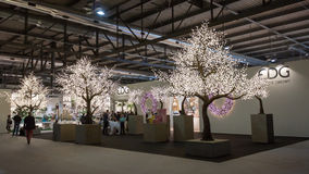 Glaring trees at HOMI, home international show in Milan, Italy Royalty Free Stock Images