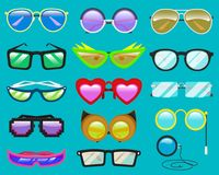 Glasögon eller solglasögon för exponeringsglasvektortecknad film i rolig form för hjärta för parti och tillbehör för hipstersmode Fotografering för Bildbyråer