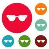 Glasögon för blind vektor för symbolscirkeluppsättning Royaltyfri Fotografi