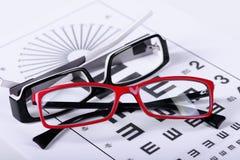 Glasögon och ögondiagram fotografering för bildbyråer