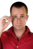 glasögon som rymmer mannen Royaltyfri Foto
