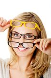 glasögon som slitage kvinnabarn Royaltyfri Fotografi