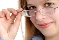 glasögonflickabarn fotografering för bildbyråer