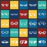 Glasögonsymboler ställde in på färgfyrkantbakgrund för diagrammet och rengöringsdukdesignen, modernt enkelt vektortecken för färg stock illustrationer
