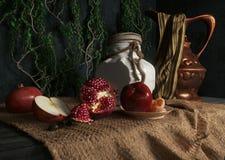 Glas, Überrollschutzvorrichtung, Äpfel, Granatapfel, Anlage und Orange auf Segeltuchdrapierungs-Begriffsstillleben Lizenzfreie Stockbilder