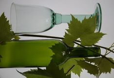 Glas и бутылка вина Стоковая Фотография RF