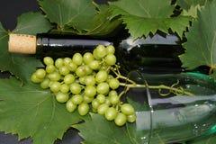 Glas и бутылка вина Стоковые Изображения RF