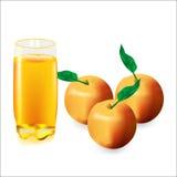 Glas Apfelsaft und drei Äpfel Stockfotos