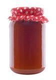 Glas Aprikosen-Marmelade Stockfoto