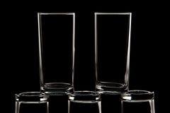 Glas auf schwarzem Hintergrund Stockfotos