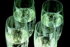Glas av Champagne i closeup Royaltyfri Fotografi