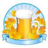 Glas with beer. Illustration of a glas with beer on a colorful autumnal background Stock Photos