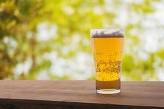 Glas Bier auf hölzernem im Frühjahr stockbild