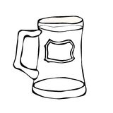 Glas Bier-Gekritzel-Art Lokalisiert auf weißem Hintergrund, Handzeichnung Vektor Stockfotografie