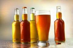 Glas bier met flessen royalty-vrije stock foto's