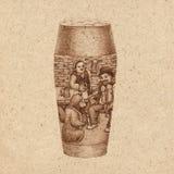 Glas bier met geschiedenis Stock Afbeeldingen