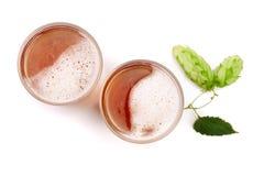 Glas Bier mit dem Hopfen lokalisiert auf weißem Hintergrund Beschneidungspfad eingeschlossen Stockfotografie