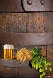 Glas Bier mit Hopfen und Gerste Lizenzfreie Stockbilder