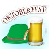 Glas Bier mit Tiroler Hut und Beschriftung Hintergrund für Bierfestival Oktoberfest in der Karikaturart Vektor Lizenzfreie Stockfotos