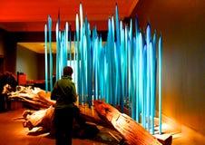 Glas blauwe kaarsen Royalty-vrije Stock Foto
