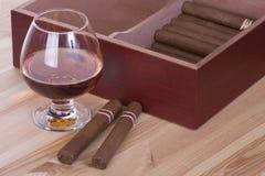Glas brandewijn en sigaren Royalty-vrije Stock Afbeeldingen