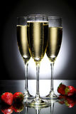 Glas champagne met aardbei Royalty-vrije Stock Afbeelding