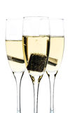 Glas champagne met binnen chocolade Stock Fotografie
