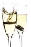 Glas champagne met binnen stuk van chocolade Royalty-vrije Stock Afbeelding