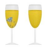 Glas champagne met roze ring Royalty-vrije Stock Afbeeldingen