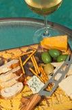 Glas champagne met snacks royalty-vrije stock foto's