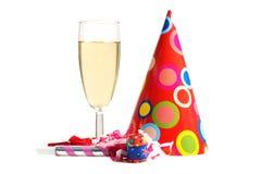 Glas Champagner- und Feiertagseinzelteile lizenzfreie stockfotografie